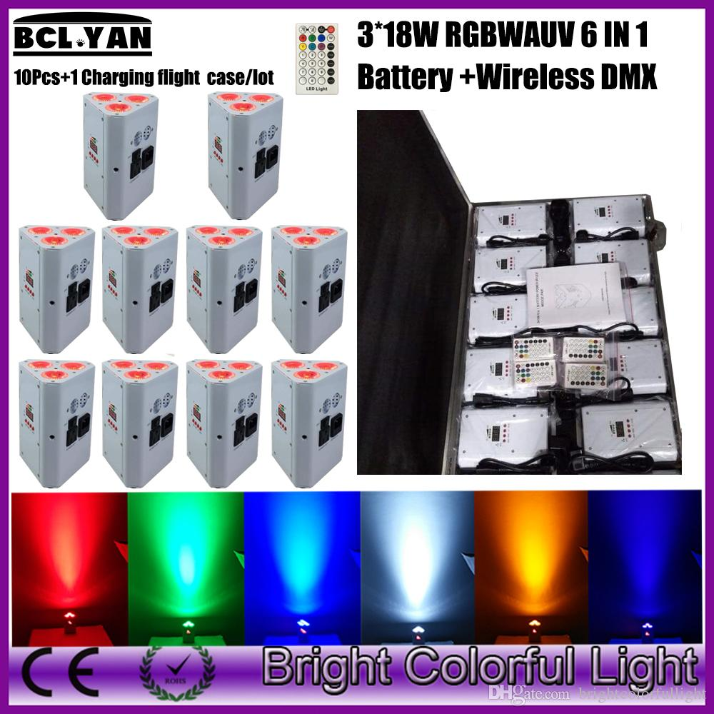 10XLOT + Case New flat battery led wedge par 3x18w RGBWAUV wireless dmx par led light single battery led uplight par for dj