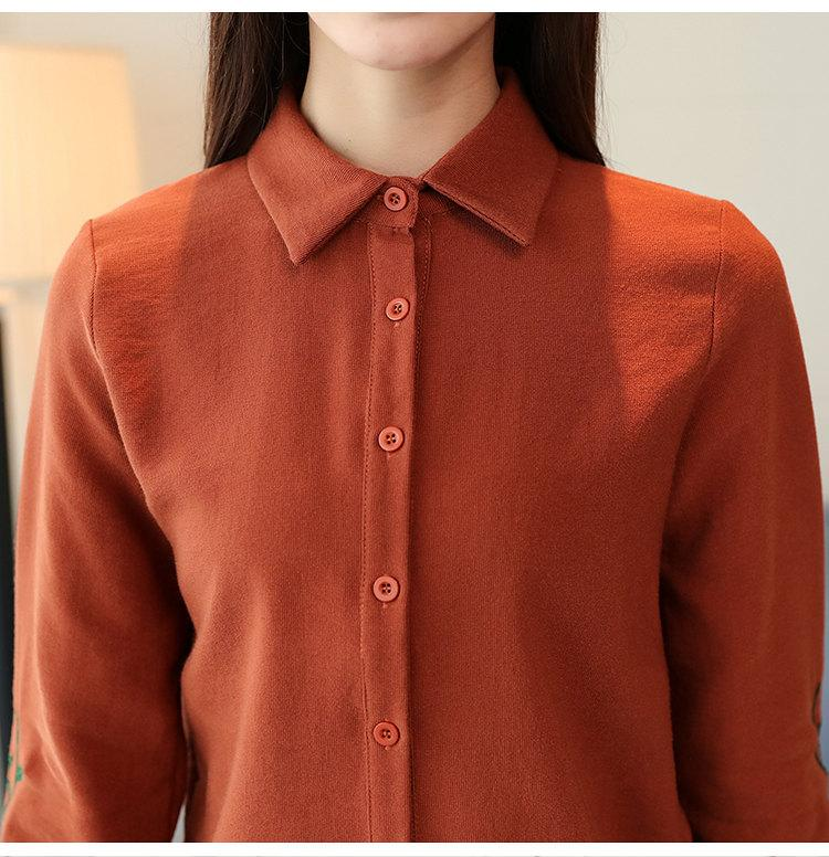 Women\`s Autumn Embroidery Tops 2019 Casual Long Sleeve Female Blouses Work Wear Corduroy Shirts Elegant Office Blusa Mujer Camisas (12)