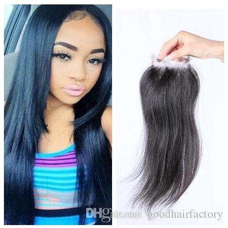 Малайзийские индийские перуанские вьетнамские монгольские волосы кружева верхнее закрытие 8-20 дюймов прямой волна натуральный цвет французский кружевной закрытие
