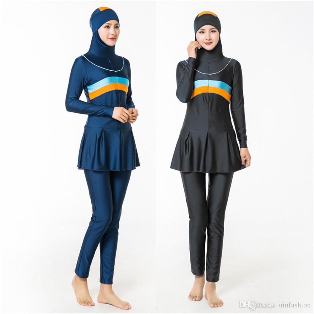 Swimwear Muçulmano Islâmico Maiô Conservador Burkinis Conservador Cobertura Completa Desgaste Nadar Plus Size Para As Mulheres Surf Wear