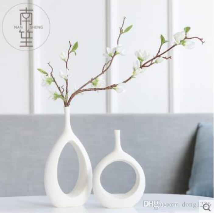 keramik weiß moderne kreative blumen vase wohnkultur vasen für hochzeitsdekoration porzellan figuren TV schrank dekoration