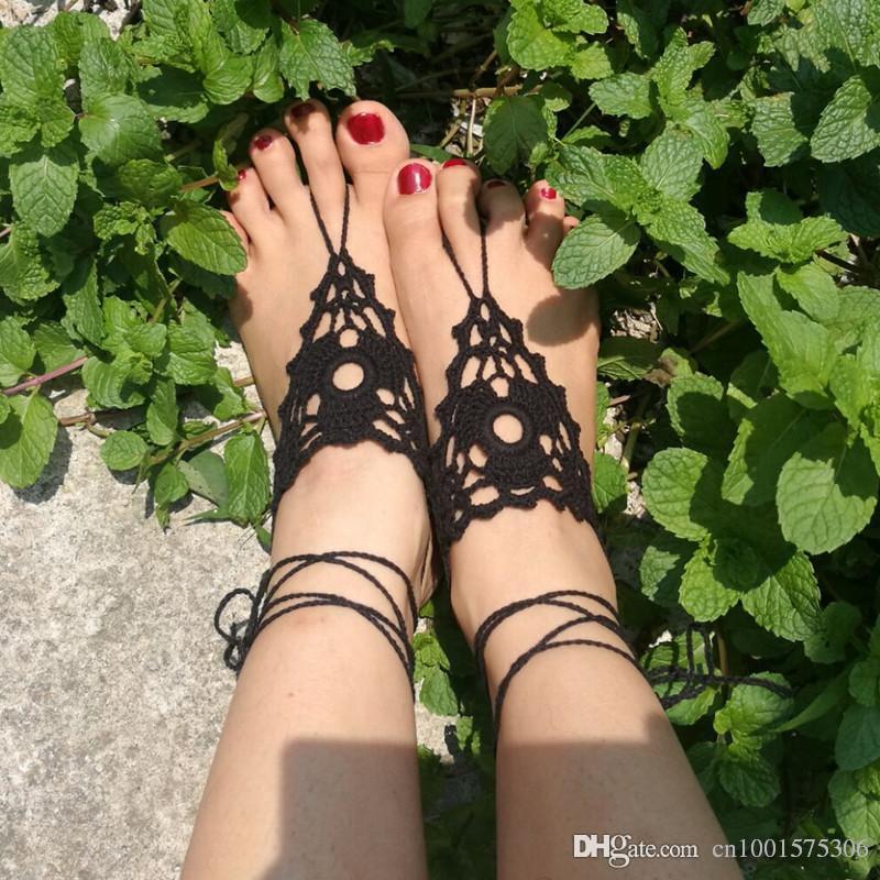 Sandalias descalzas de ganchillo, pedrería descalza, zapatos nude de ganchillo de melocotón, joyería de pie, boda, encaje victoriano, sexy, yoga ..