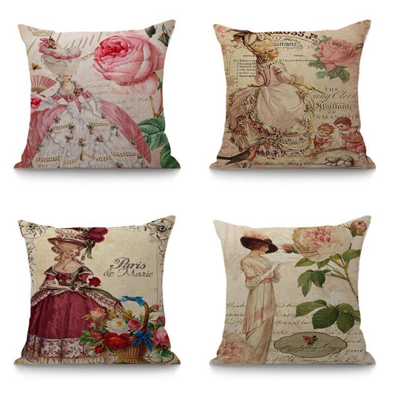 European Lady's Portrait in Hat Retro Throw Pillows For Home Car Chair Decorative Cushion Fashionable Pillow Home Decor 45x45cm