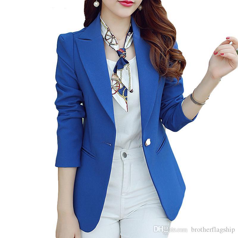 Fashion Women Solid Blazer Casual Womens Single Button Slim Jacket Female Top Coat Cape Ladies Blazers Plus Size Candy Color