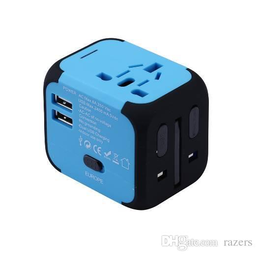 New Universal Adaptador de Viagem Conversores de Tomada de Plugues Elétricos EUA / AU / REINO UNIDO / UE com Dual USB de Carregamento 2.4A LED Indicador de Energia