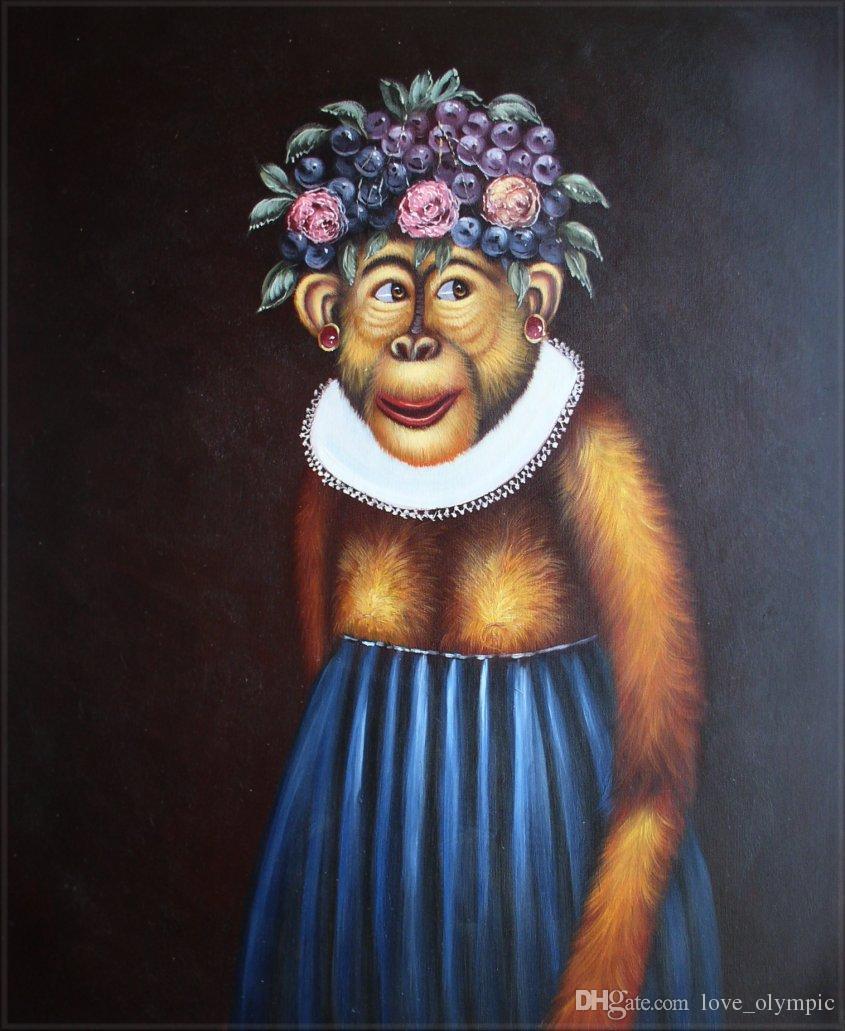 """Lotes al por mayor """"Mono encantador azul falda"""", genuino pintado a mano decoración de la pared Animal arte pintura al óleo sobre lienzo tamaños múltiples disponibles, Rsh009 #"""
