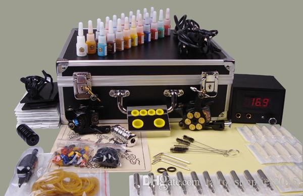 Professional Tattoo Machine Set Complete Tool Box Power Ink Switch Needles Tip Kit Tattoo Body Art Supplies Wholesale Piercing Jewelry Wholesale