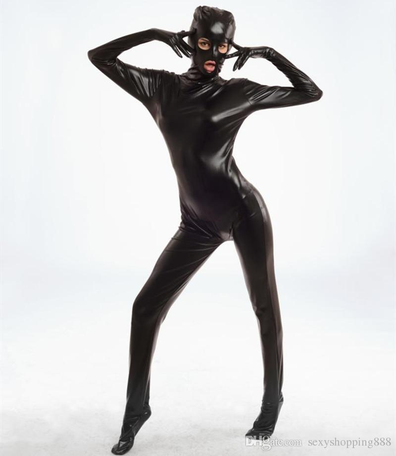 Spandex Body Shiny Catsuit Sexy Unisex Zentai Completo Body Suit Sex Erotic Party Wet Look One Piece Unitard Gioco per adulti Lingerie