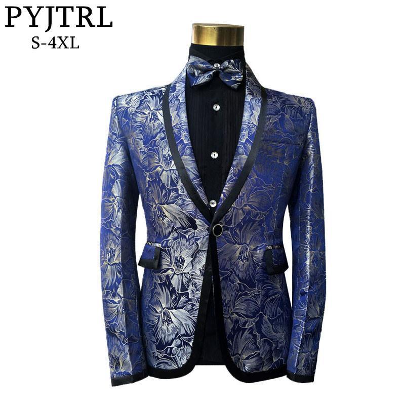PYJTRL Erkek Klasik Şal Mavi Çiçek Desen Jakarlı Blazer Slim Fit Tasarımlar Artı Boyutu Şarkıcılar Kostüm Ceket Papyon Ile D18101103