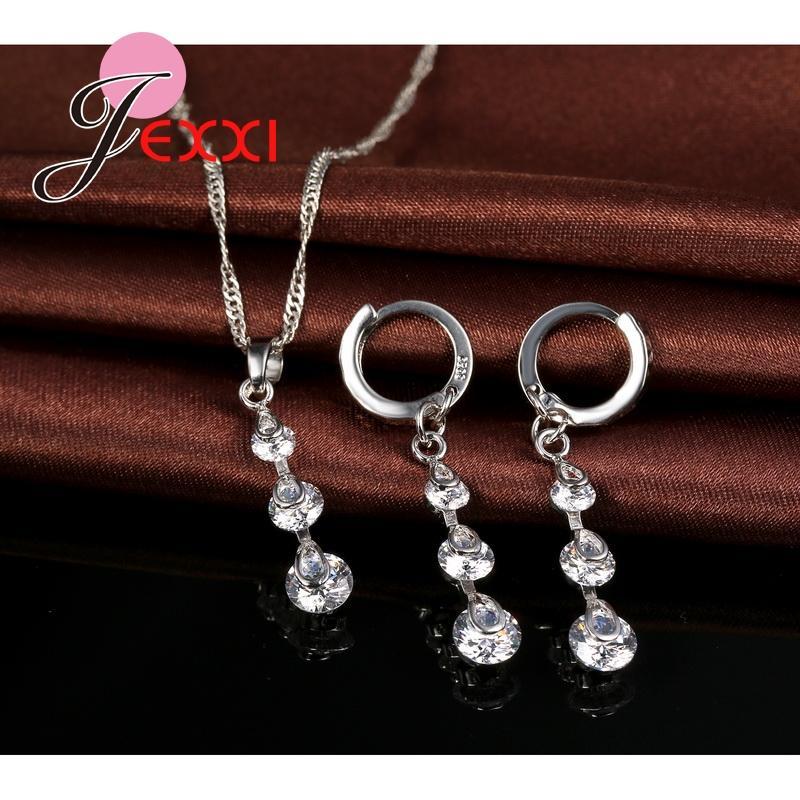 Jexxi كلاسيكي 925 فضة سلسلة زركون طويل الشرابة قلادة أقراط brincos المرأة طقم مجوهرات اكسسوارات