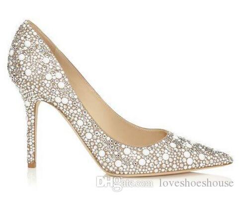 Beige dedo del pie acentuado tacones finos mujeres bombas tachonada cristal nupcial zapatos de boda estilo club nocturno tacones altos zapatos de mujer