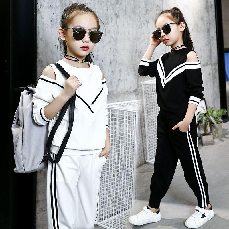 Moda Big Girls Sports Ternos Fora Do Ombro Preto e Branco Conjunto de Roupas para Adolescentes Outono Treino Crianças Plus Size Sportswear
