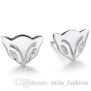 Vrouw zilveren sieraden vos ontwerp oorknopjes bruiloft etnische vintage oneindigheid charms mode oorbellen Gratis verzending