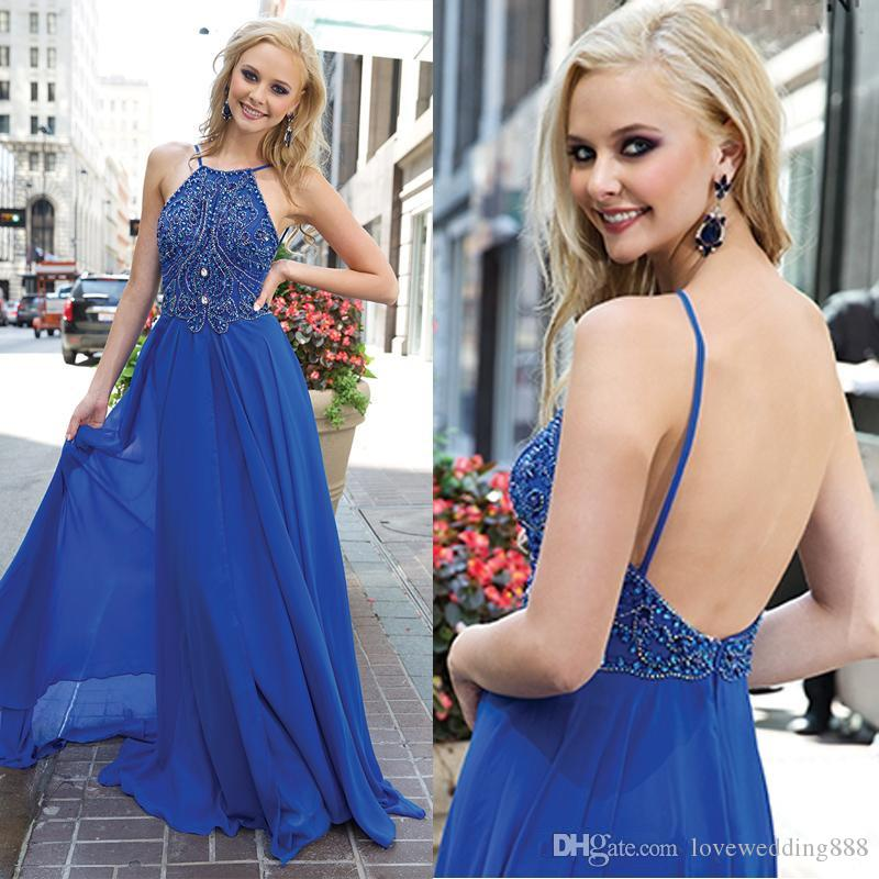 2018 Sexy Open Back Beaded Prom Dresses Sleeveless A Line Long Chiffon Maid of Honor Party Gowns