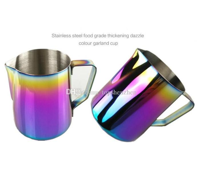 350 ml / 600 ml Leite Espumante Jarro De Café Espresso Barista Barista Café Latte 20 oz Aço Inoxidável Rainbow Milk Canecas De Café Potes