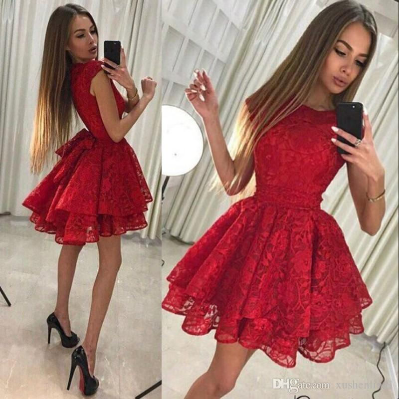 Lovely Tiered Red Cocktail Dresses A