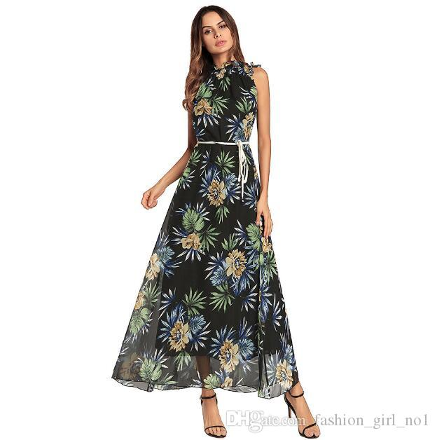 2018 Spring Women's High-Neck Printed Dresses Bohemian Loose-Chiffon Long Dress Women casual skirt 3 colors free shipping