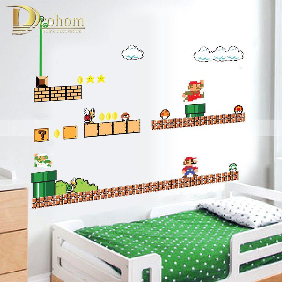 Großhandel Removable Cartoon Super Mario Bros Wandaufkleber Für  Kinderzimmer Schlafzimmer Wohnkultur Vinyl Poster Tapete Aufkleber Wandbild  Von Toto5, ...