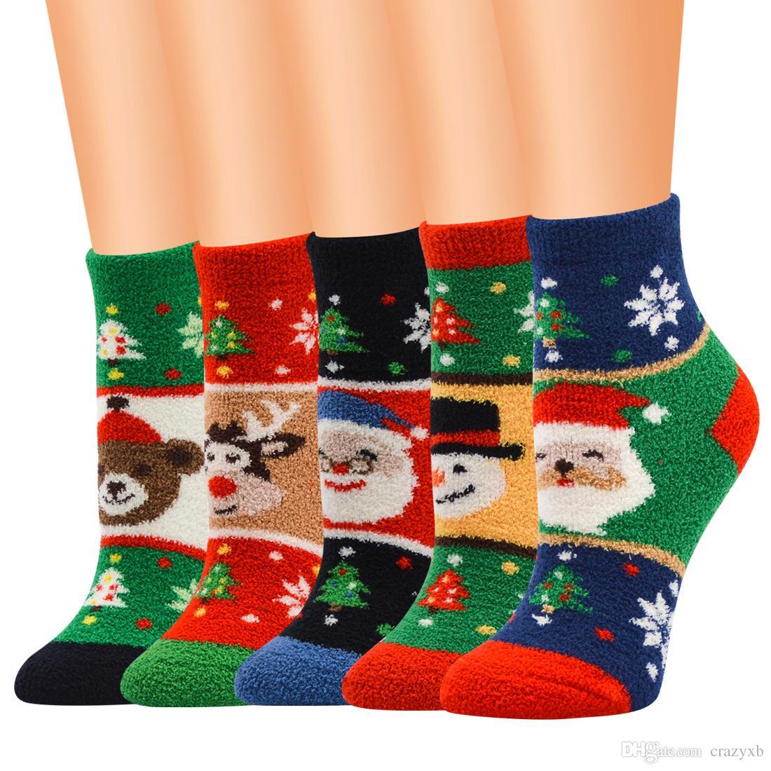 Büyük indirim! Kadın çorapları bayan noel hediyesi çorap moda kış sevimli yün 3d bayanlar çılgın çorap kadın termal sıcak hayvan çorap