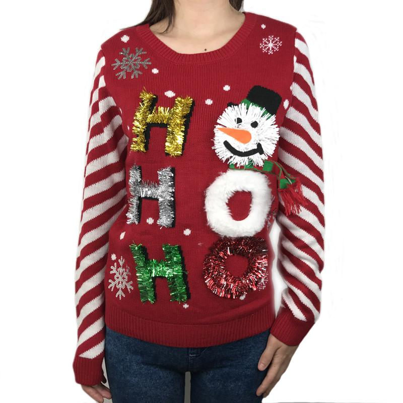 Plus Size Ugly Christmas Sweater.2019 Funny Womens Ugly Christmas Sweaters Knitted Tacky Xmas Sweater For Girls Holiday Party Sequined Pullover Jumper Plus Size S 2xl From Amyshop3