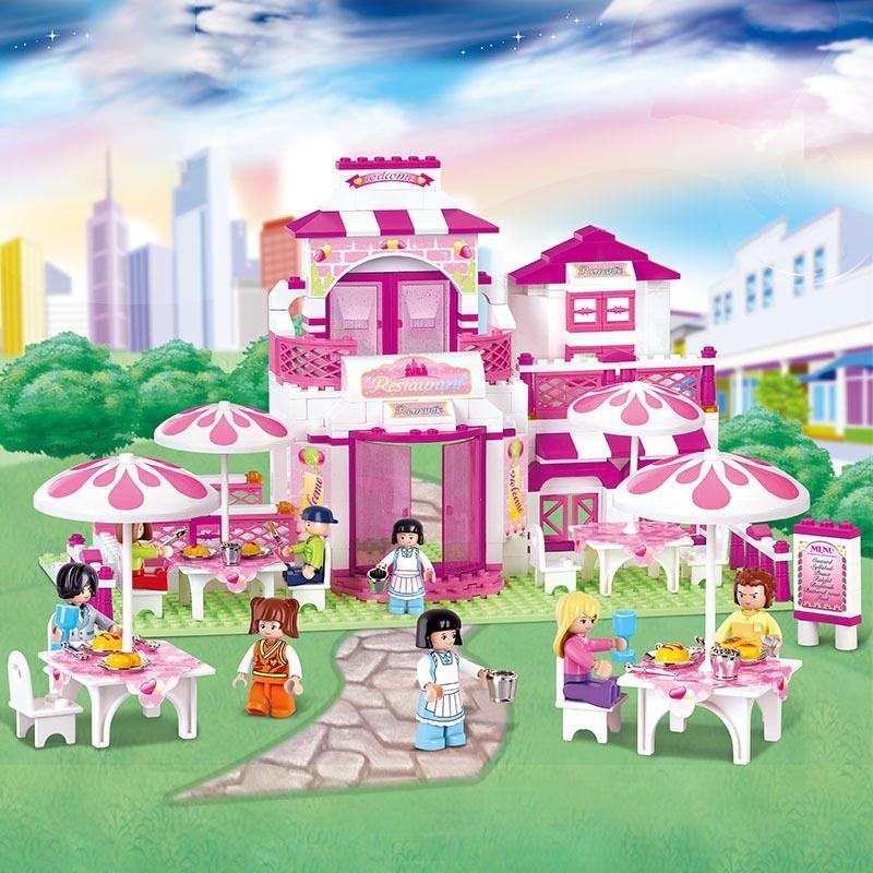 Sluban 306pcs friends Romantic Restaurant Building Blocks Enlighten toys for children action figure brinquedos