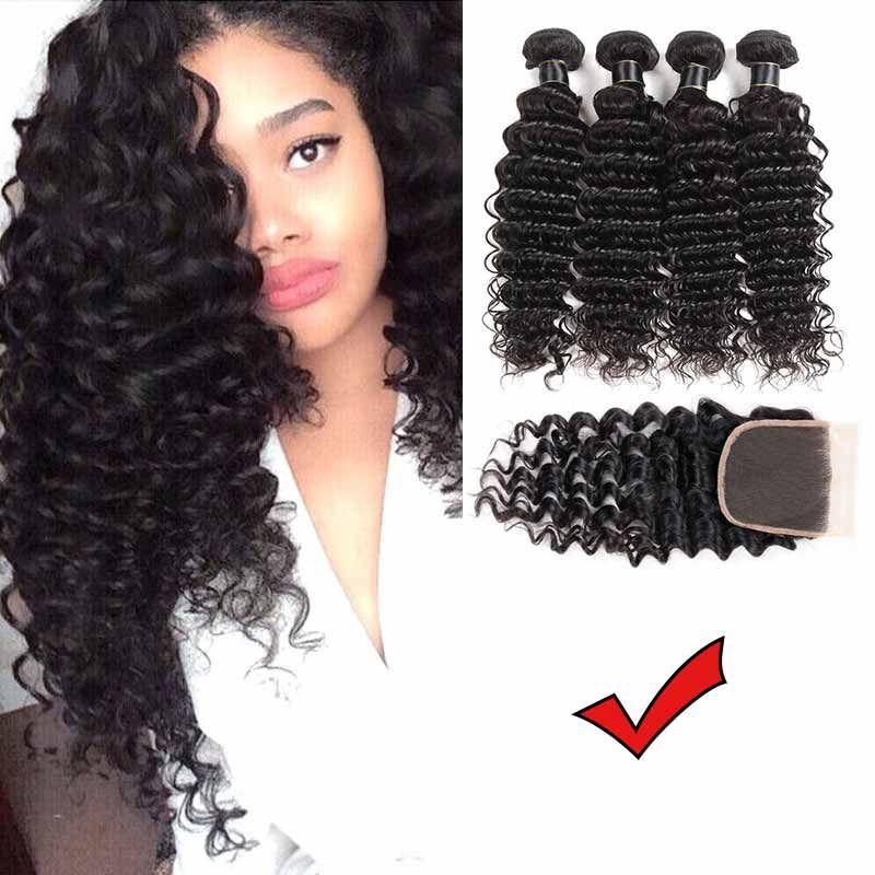 Brazylijska Remy Hair Ciała Fala z zamknięciem Brazylijskie ludzkie włosy wiązki z zamknięciem brazylijskiej fali ciała dziewicy włosy z 4x4 zamknięciem