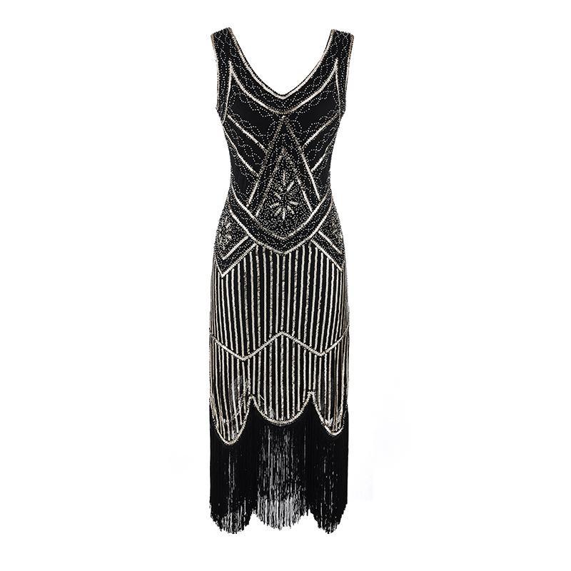Frauen Party Kleid Robe Femme der 1920er Jahre große Gatsby Flapper Pailletten Fransen Kleid Perlen Quaste