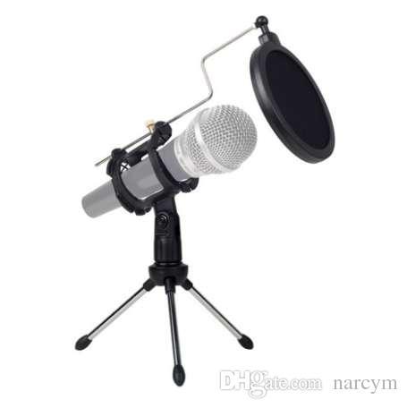 Dobrável Universal Microfone Ajustável Suporte de Mesa Tripé Para Gravação De Vídeo Do Computador com Microfone Pop Pop Filtro Tampa