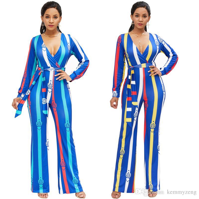 새로운 2018 겨울 여성 Bodycon 섹시한 디지털 인쇄용 점프 슈트 로퍼스 Clubwear 젊은 Playsuit 붕대 긴 소매