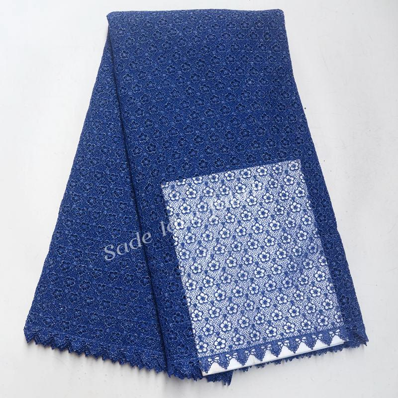 Tela soluble en agua del cordón de la alta calidad del cordón francés del cordón de 2018 tela del cordón del color azul para el vestido de boda nigeriano IG288