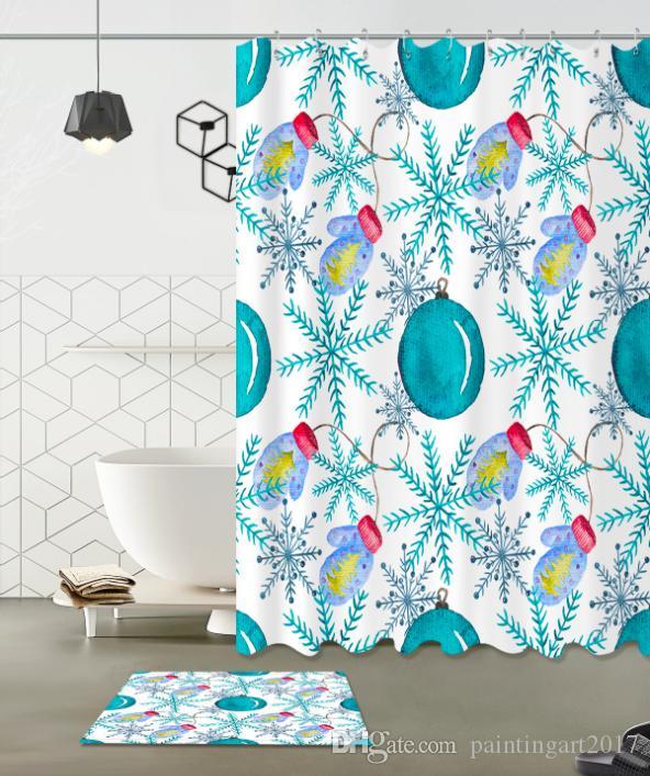 Рождественская перчатка шаблон 3D печати пользовательских водонепроницаемый ванной современный душ занавес полиэстер ткань занавес двери ванной комнаты коврик наборы