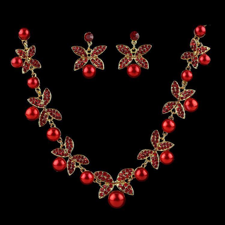 Korea Style Wedding Jewelry White Butterfly Shaped Crystal Rhinestone Imitate Pearl Necklace Earring Set Bride jewelry wholesale