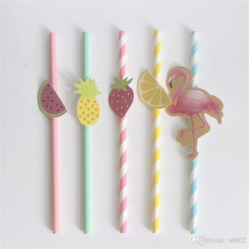 Cartoon Drinking Straws Flamingo Pineapple Paper Straw For Wedding Birthday Party Bar Decorations Supplies 10pcs 1set 3rs ZZ