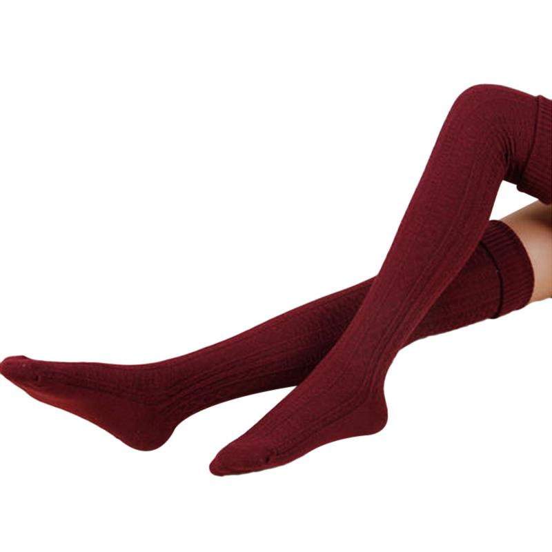 HOT Women Cotton Knitted Stockings Sexy Warm Thigh High Over Knee Socks Pantyhose Vintage Solid Color Twist Long Stocking Medias