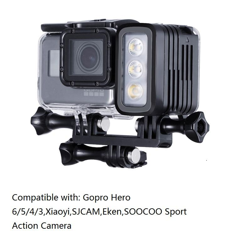 Gopro 30M Underwater Diving LED lamp Waterproof LED Light for GoPro Hero 6 5 4 3+ 3 2 SJCAM XIAOYi Sports Action Cameras