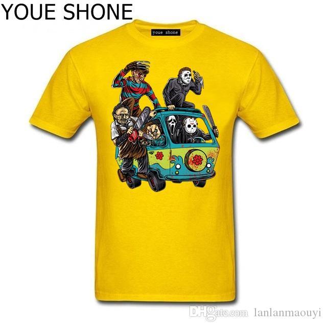 Moda Uomo T-Shirt The Horror T-Shirt Massacre Machine Chucky Jason Voorhees Michael Myers Tees Camicia Freddy Cotton Short Sleeve pullover