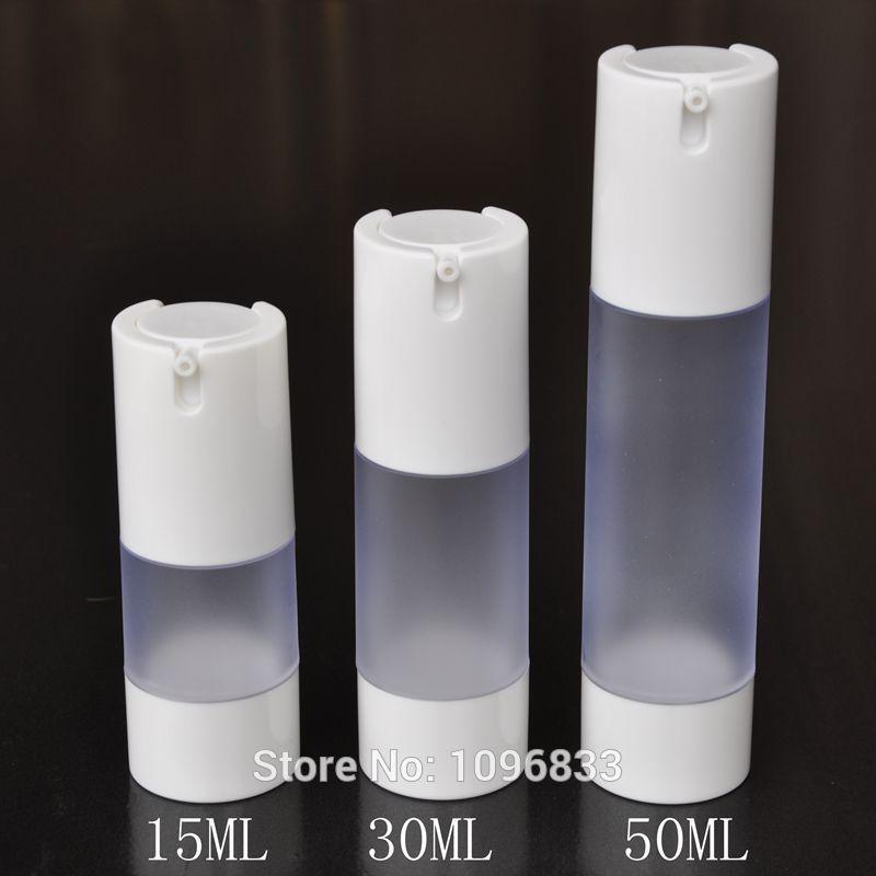 15ML 30ML 50ML Buzlu Havasız Şişe Beyaz Cap, Kozmetik Serum Losyonu Jel Packaging Şişe, Vacumm Şişe, 20pcs / Lot