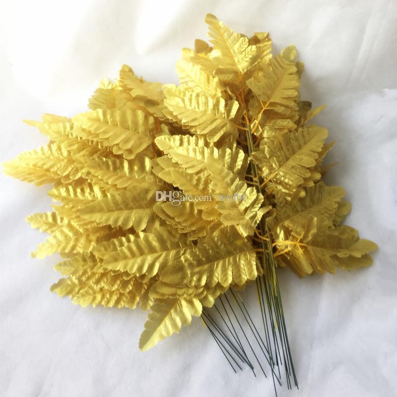 100 pcs Artificial Simulação De Seda Persia Planta Folhas De folhas verde / dourado / prata cores para o Casamento Casa arranjo floral parte