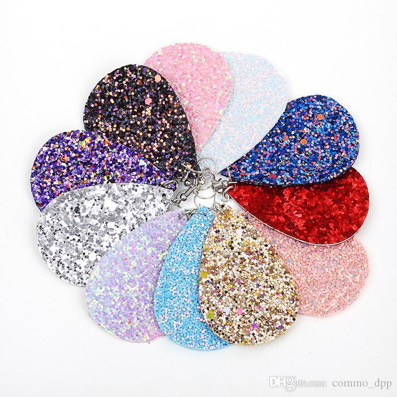 10 farben pailletten pu-leder ohrringe bling tropfenform baumeln kronleuchter ohrringe für damen frauen luxus designer schmuck