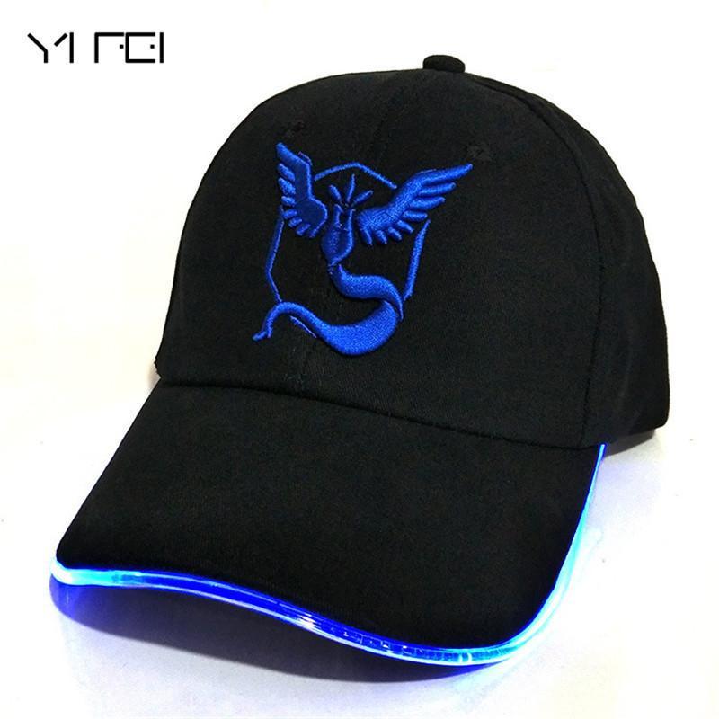YIFEI LED 100% coton Pocket Monster chapeau lumineux pour femmes bande dessinée hip hop casquette brodée aller casquettes de baseball GO