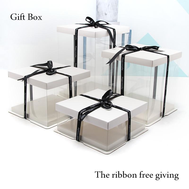 2018 Cake Box Gift Box Simple Transparent Gift Boxes 4-16 pouces grande taille gâteau boîte anniversaire party cake gaine1 pcs livraison gratuite