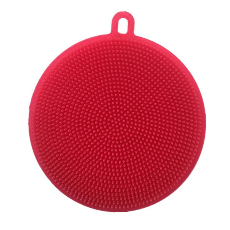 Multifunctional food grade cleaning dish round non-oil wash pan brush silica gel fruit and vegetable cleaning brush