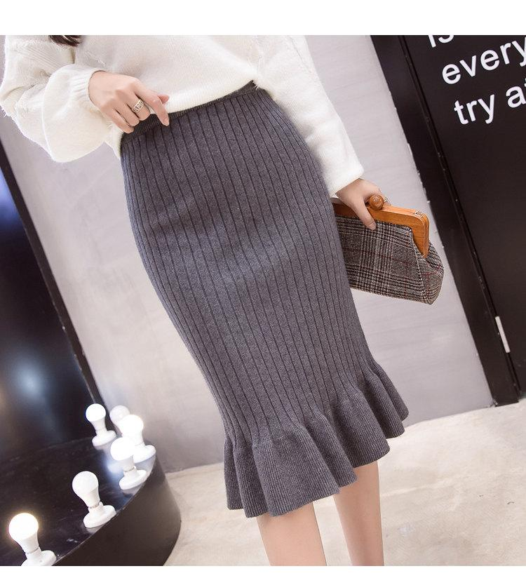 Winter Knitted Skirts Women High Waist Mermaid Skirt Saia Knitting Pack Hip Skirt Women\`s 2019 Casual Bodycon Faldas Mujer (14)
