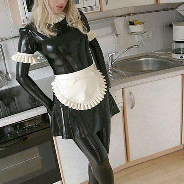 ملابس الخادمة المطاطية المطاطية زي SkirtApronLeggingsGloves مثير