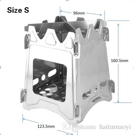 Camping Wood Stove Portable Outdoor Folding Assembling Stainless Steel Wood Stove for Backpacking Survival Cooking Picnic Hunting LF003