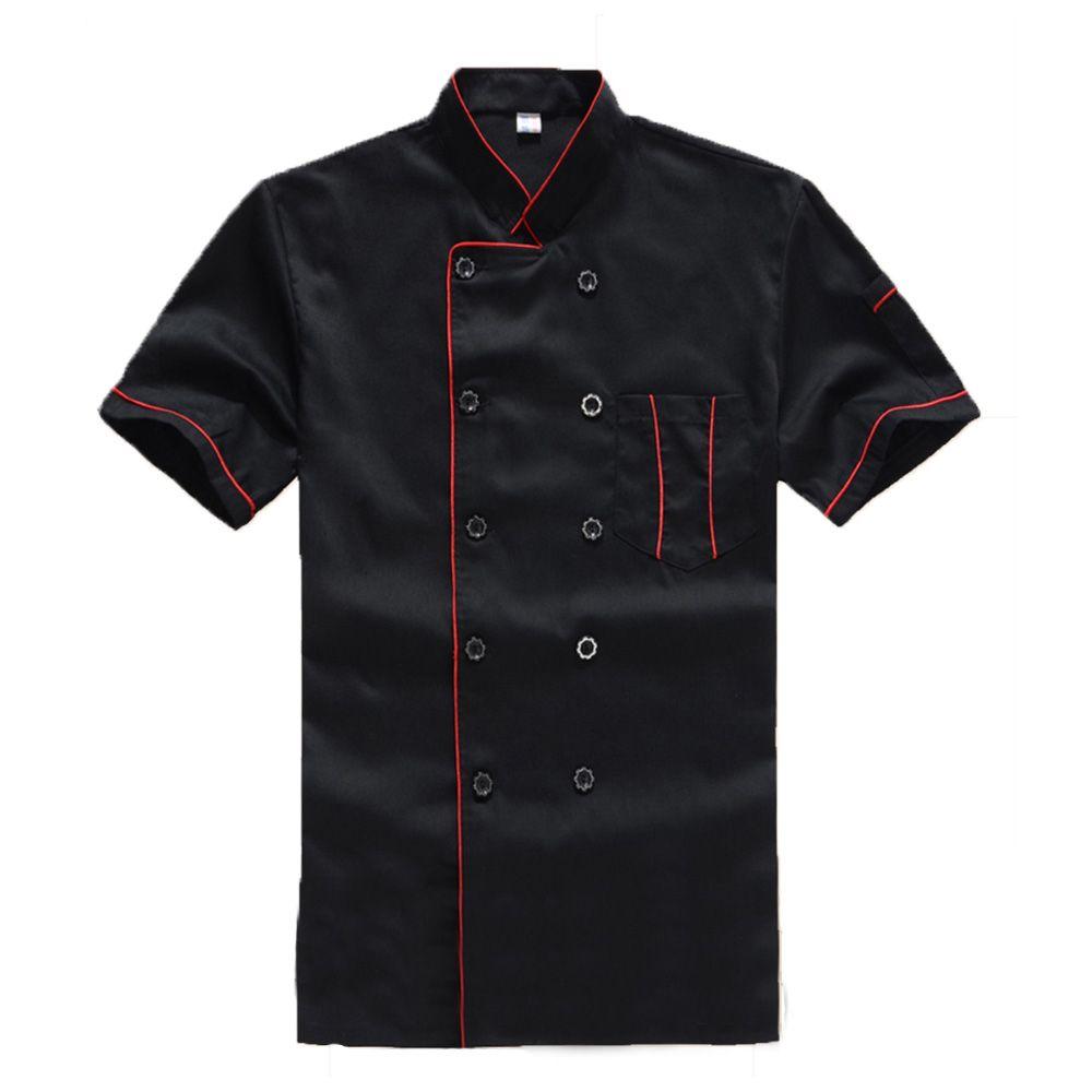 ücretsiz kargo Yeni Yüksek Kalite Siyah Restoran Otel Chef Ceket Kısa kollu Cook Suit Erkek Kadın Çalışma Üniforma Coat Gıda Hizmetleri Wear