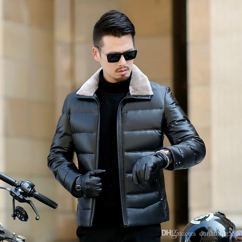 90 % 거위 단색 고품질 모직 칼라 가죽 경량 겨울 보호구 옥외 스포츠 용 자켓 다운