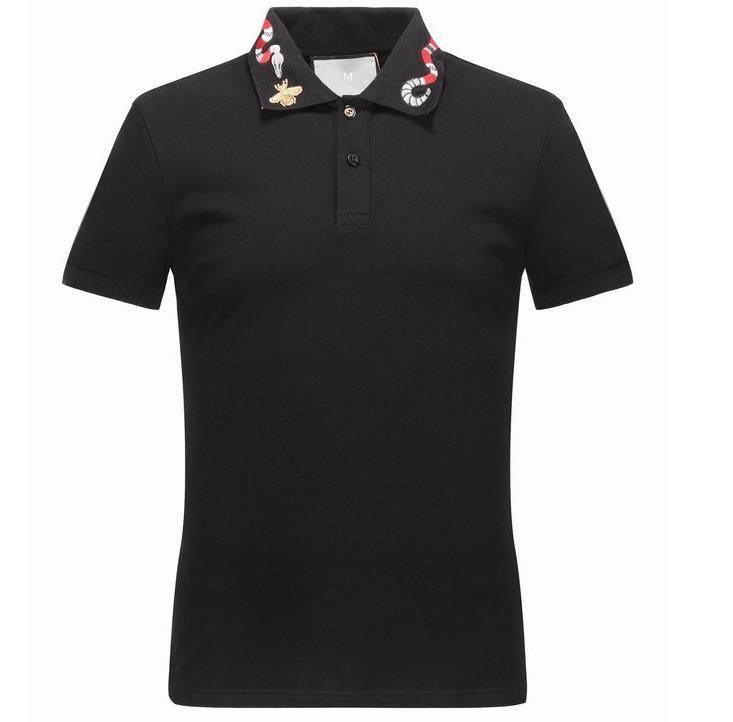Printemps de luxe Italie T T-shirt Designer Polos High Street broderie Little Bee couleuvres rayées impression Vêtements pour hommes Marque Polo