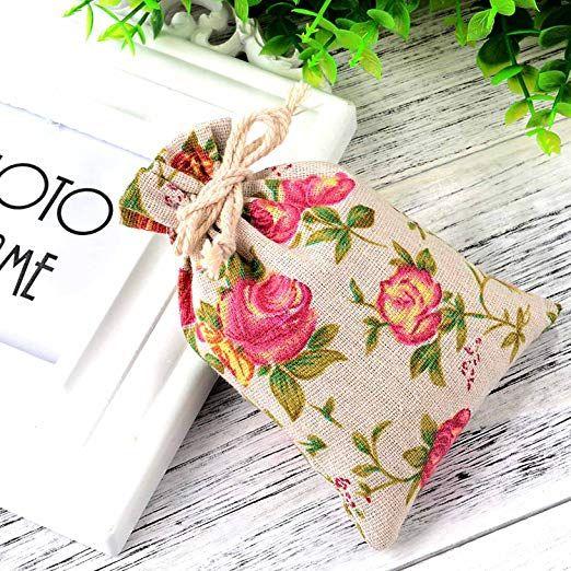 الورود نمط مزدوجة الرباط أكياس الكتان أكياس الخيش مع الرباط هدية حقائب مجوهرات الحقيبة لحفل زفاف وديي الحرفية