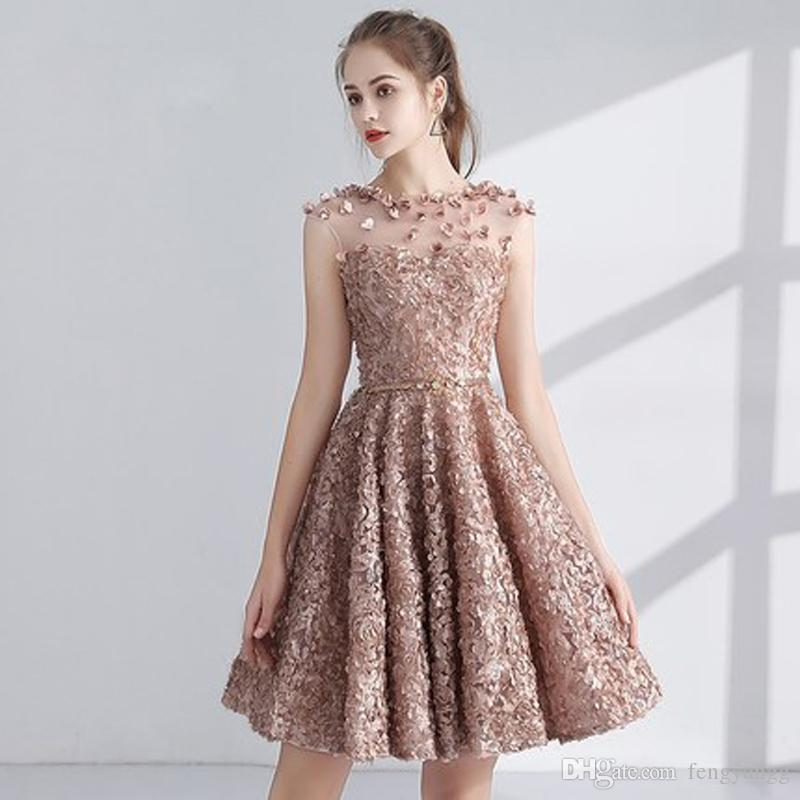 Vestiti Corti Eleganti 2018.Acquista 2018 Beautiful Cocktail Dress Party Sleeveless Appliques